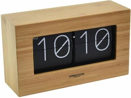 Vaak bol.com | London clock Mantelklok - Flip klok -Riff - Hout @FI01