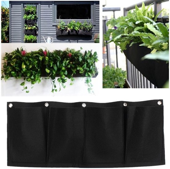 AA Commerce Horizontale Plantenhanger Balkon - horizontale plantenzak – horizontale moestuin – hangende tuin - 4 zakken