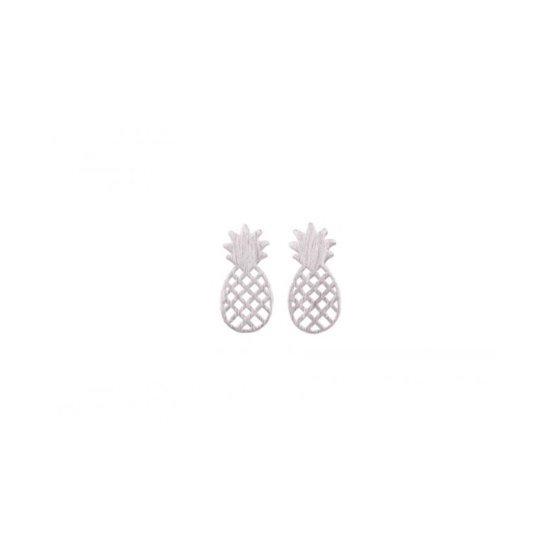 24/7 Jewelry Collection Ananas Oorbellen - Oorknoppen - Geborsteld - Zilver
