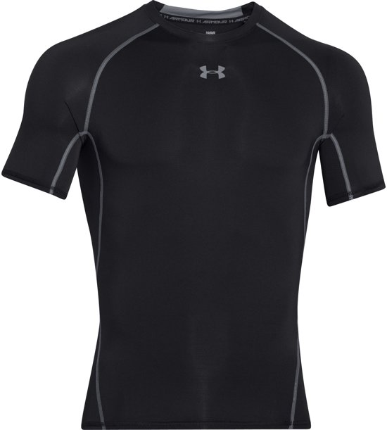 Under Armour HG Armour SS Heren Sportshirt - Zwart - Maat XL