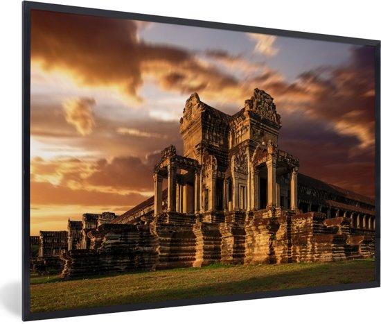 Foto in lijst - De oostelijke vleugel van Angkor Wat fotolijst zwart 60x40 cm - Poster in lijst (Wanddecoratie woonkamer / slaapkamer)