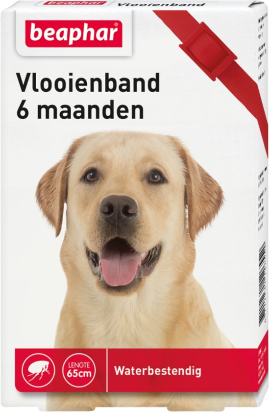 Beaphar - Diagnos - Vlooienband voor honden - Rood - 6 maanden