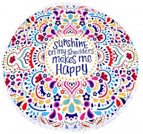 f8685bdab1c Hippe Roundie IBIZA handdoek - rond - Multicolor met tekst Sunshine on my  shoulders make me