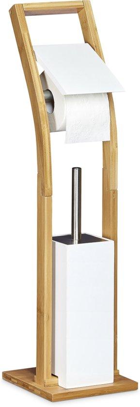 Wc Borstel En Toiletrolhouder.Relaxdays Vrijstaande Toiletaccessoireset Bamboe Toiletrolhouder Wc Borstel Hout