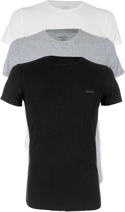 Diesel - 3-pack The Essential Jake 100% Katoen Ronde Hals Shirt Zwart - Wit - Grijs - XL