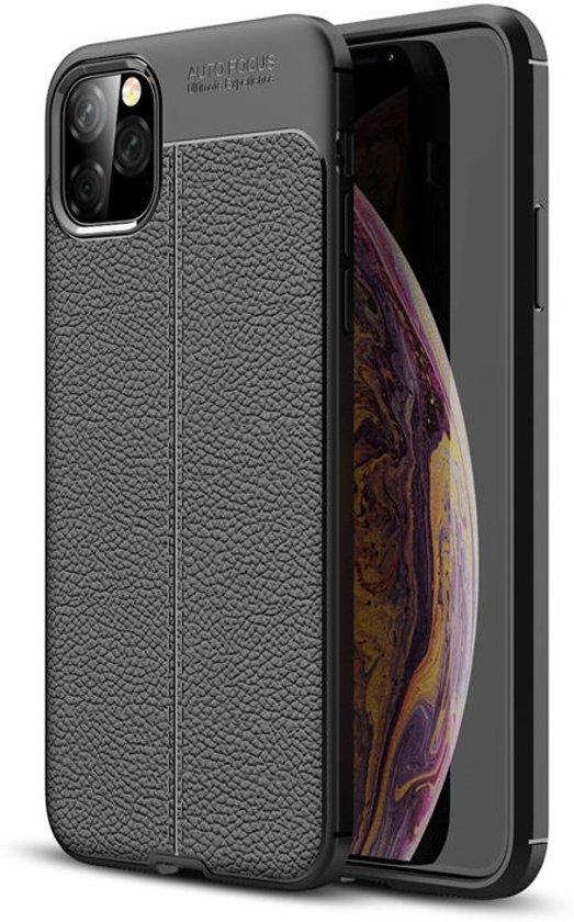 Hoesje voor Apple iPhone 11 Pro Max, gel case lederlook, zwart