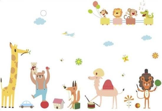 Muurstickers Babykamer Jongen.Muursticker Circus Dieren Wanddecoratie Kinderkamer Babykamer Jongen Meisje Nr 354
