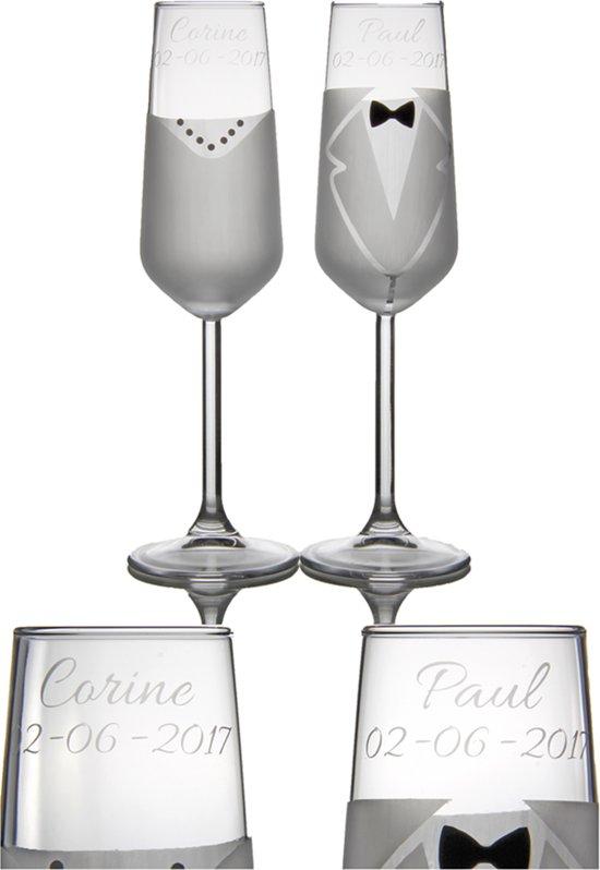 Leuk Kado Met Naam Champagne Glazen Glas