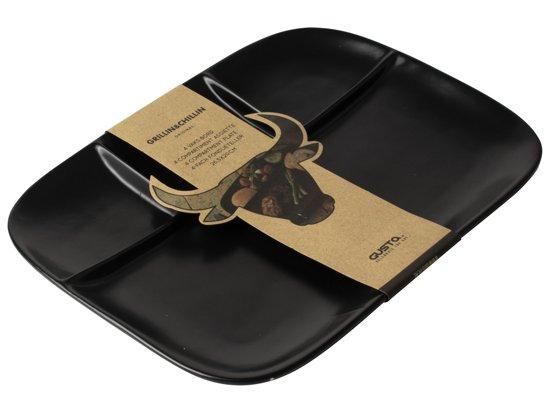 Gusta BBQ bord 4-vaks zwart - Grillin'& Chillin' - set 4 stuks