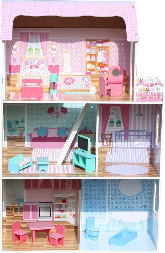 Roze Homy XL Hout Poppenhuis 13 Meubelen,MET  ZES GRATIS POPPEN ,droomhuis,Kinderen speelgoedhuis,poppenhuizen Met Meubels 74,5*30*116,5 cm