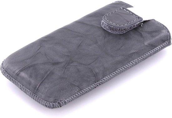 Mobiparts - leren Uni pouch Smoke insteekhoes maat M - grijs in Uilesprong / De Ulesprong