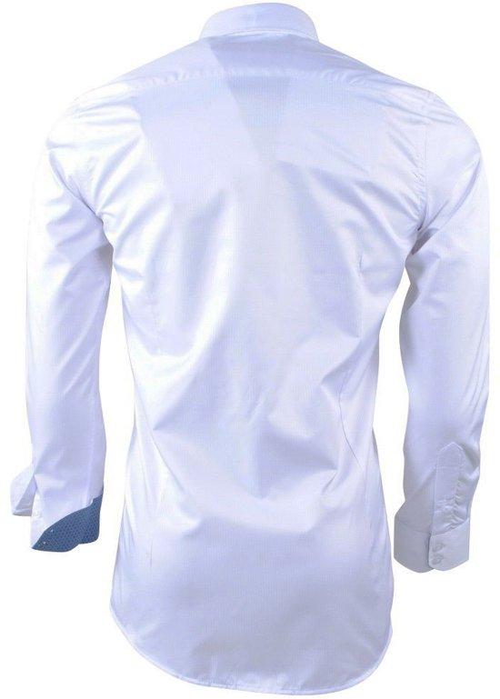 Kreuk Strijkvrij Gestreept Wit Overhemd Gestippelde Kraag Heren Montazinni En x1wT0XqZxI