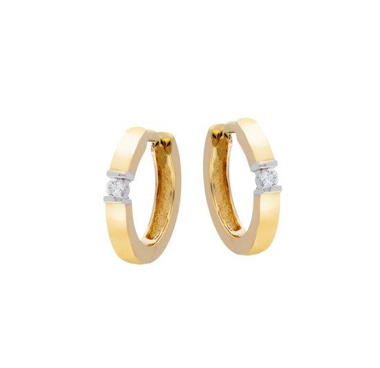 Glow oorringen - geelgoud - diamant - 0.06ct - mat