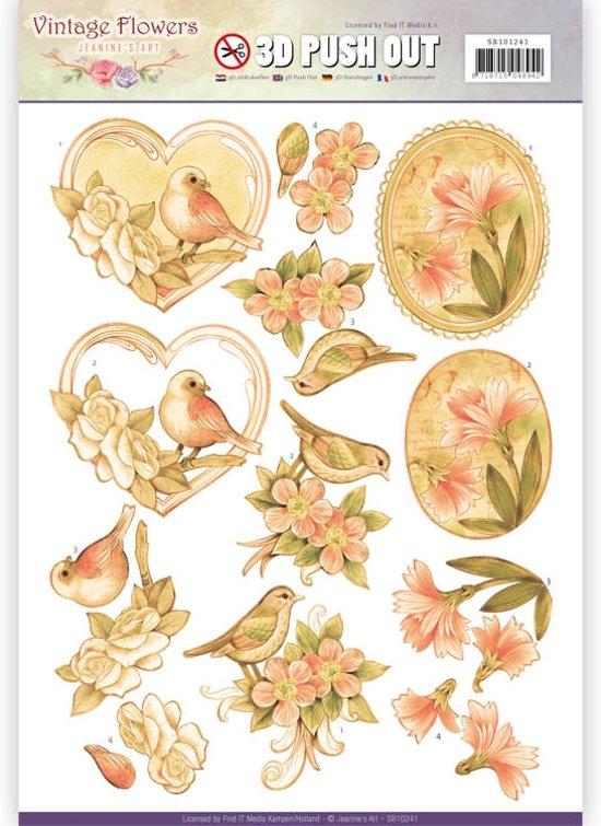 Uitdrukvel  - Jeanine's Art - Vintage Bloemen - Verbleekt Vintage