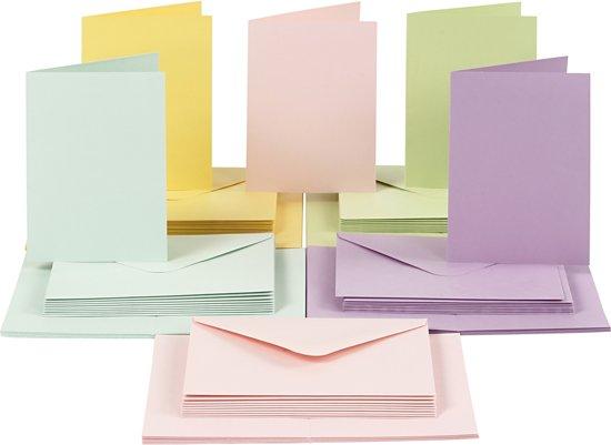 Kaarten en enveloppen, afmeting kaart 10,5x15 cm, afmeting envelop 11,5x16,5 cm, 50 sets, pastelkleuren