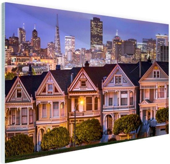 Huizen San Francisco Glas 60x40 cm - Foto print op Glas (Plexiglas wanddecoratie)