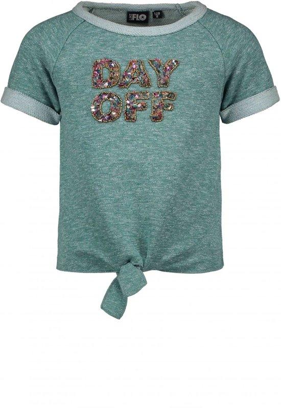 Like Flo Meisjes sweaters Like Flo Flo girls melee sweat knotted top turquoise 152