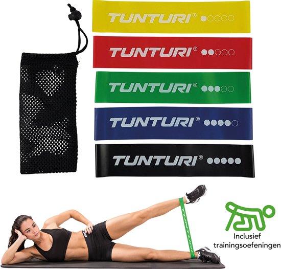 Tunturi 5 Weerstandsbanden Set - Fitness elastiek - Fitnessband - Trainingsband - Gymnastiekband - resistance band - exercise bands - High quality latex + E Book