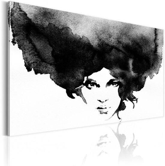 Schilderij - Storm van Gedachten, Zwart-Wit