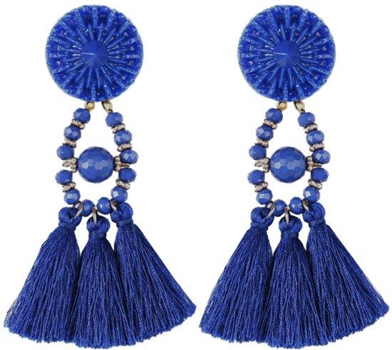 Fako Bijoux® - Oorbellen - Kwast - Boho - Donkerblauw