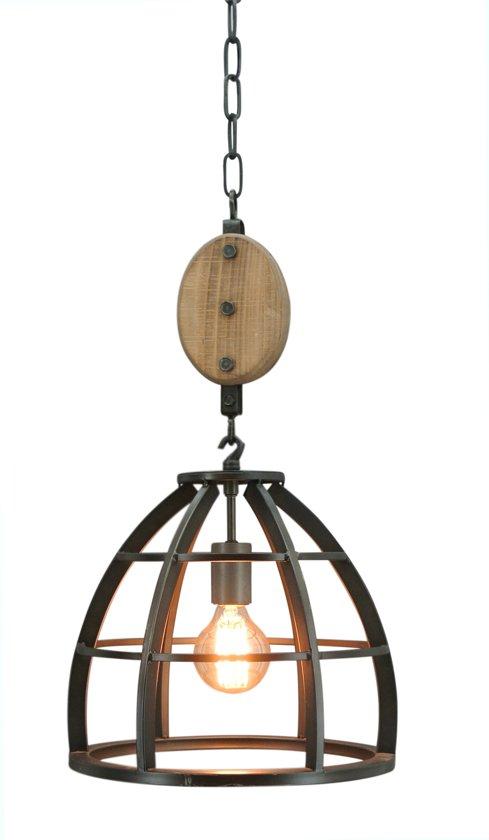 bol | industriële hanglamp lucca - Ø 34 cm - gebrand staal
