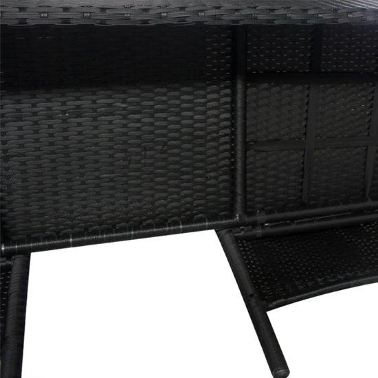 vidaXL Tuinbank tweezits met tafeltje poly rattan zwart