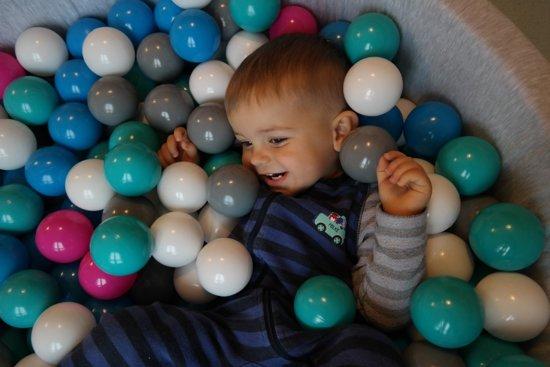 Zachte Jersey baby kinderen Ballenbak met 150 ballen,  - wit, roze, grijs