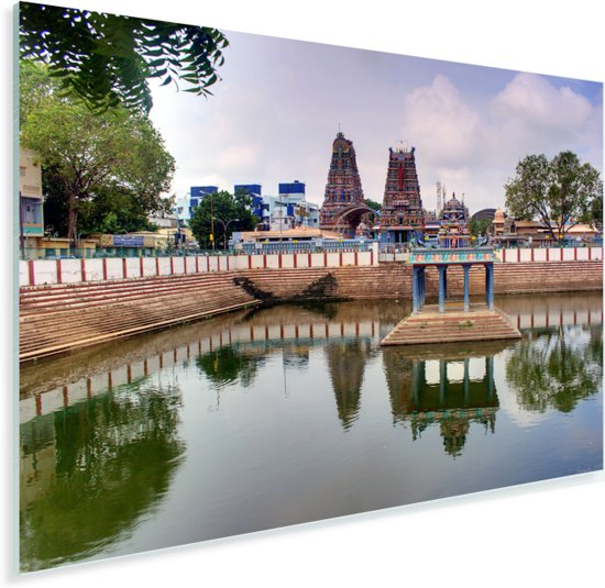 Tempel bij het water in Chennai Plexiglas 90x60 cm - Foto print op Glas (Plexiglas wanddecoratie)