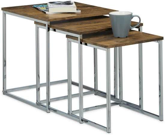 relaxdays - bijzettafel set van 3 - mimiset - modern - salontafel - hout, metaal