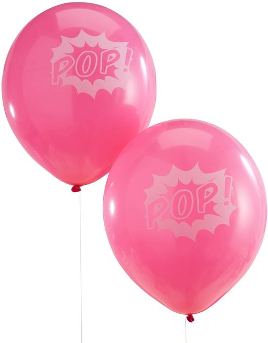 Ginger Ray Pop Art Party 'Pop' feest ballon Ø 22 cm - Roze - Set-10 Valentinaa