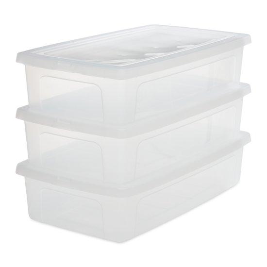 IRIS Clearbox onder-het-bed Opbergbox - 30 l - Kunststof - Transparant - 3 stuks