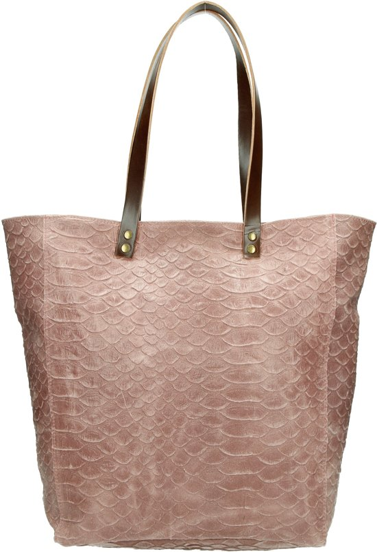 dfedb8fdb2c bol.com   Charm luxe leren Shopper met rits leer - Kroko design ...