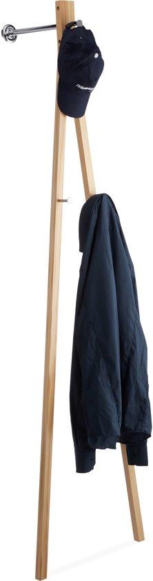 relaxdays wandkapstok - kledingroede - wandgarderobe hout - kledingrek - muurmontage
