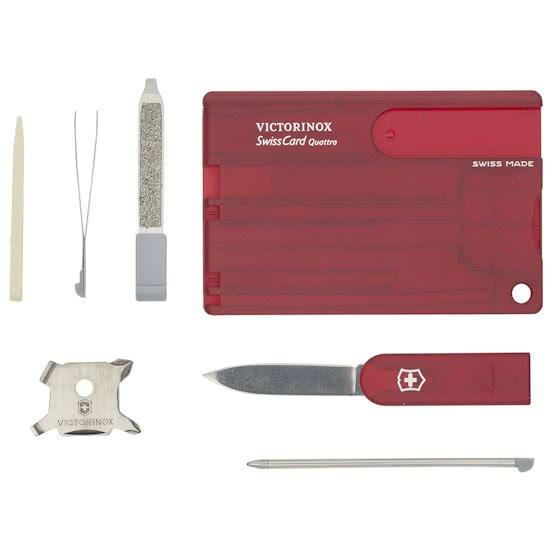Victorinox SwissCard Quattro 12 Functies - Transparant Rood