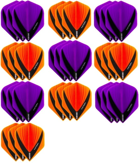 10 sets (30 stuks) - XS100 Vista flights - duo kleur pakket - Oranje en Paars – flights - dartflights