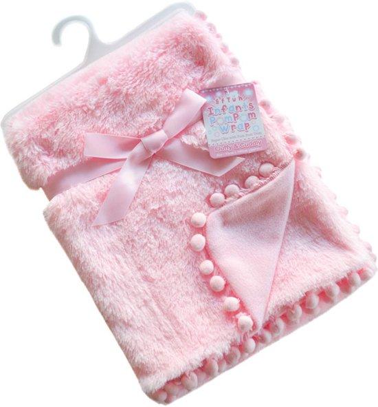 Soft Touch Babydeken Pompom 75 X 100 Cm Roze
