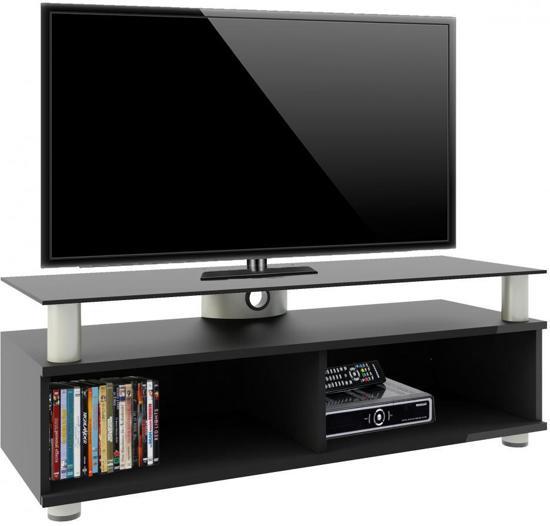 Zwart Glazen Tv Meubel.Premium Tv Meubel Tv Kast Clunis Zwarte Lak Met Overboard In Zwart Glas Verrijdbaar
