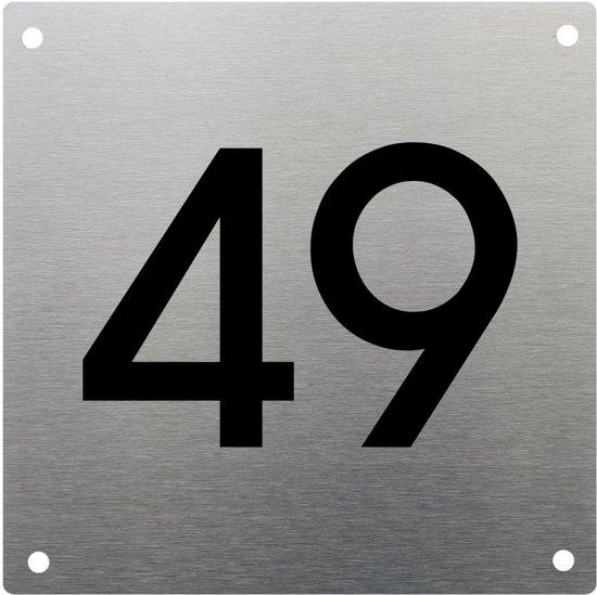 RVS huisnummer 15x15cm nummer 49