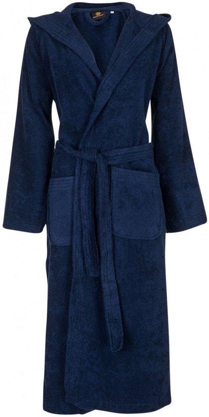 Unisex badjas marineblauw - badstof katoen - capuchon- maat S/M