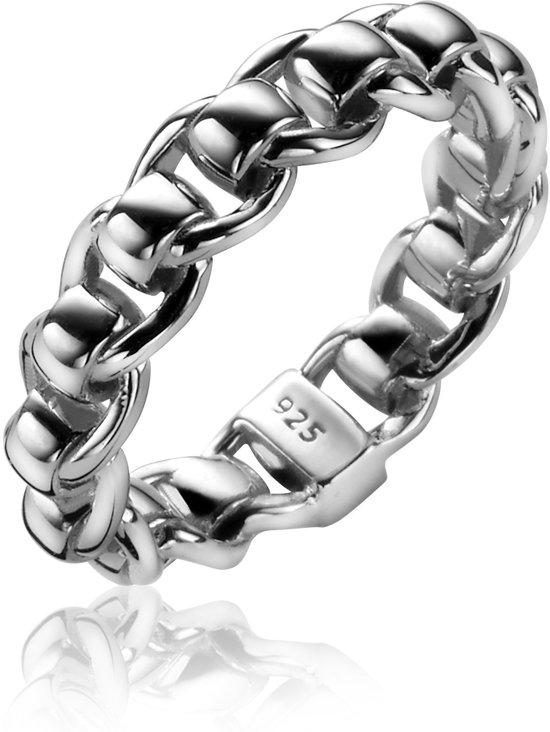 ZINZI zilveren ring schakel glad ZIR1075