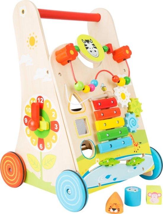 Loopwagen hout met activiteiten (baby walker) - Multi kleuren - Houten speelgoed vanaf 1 jaar