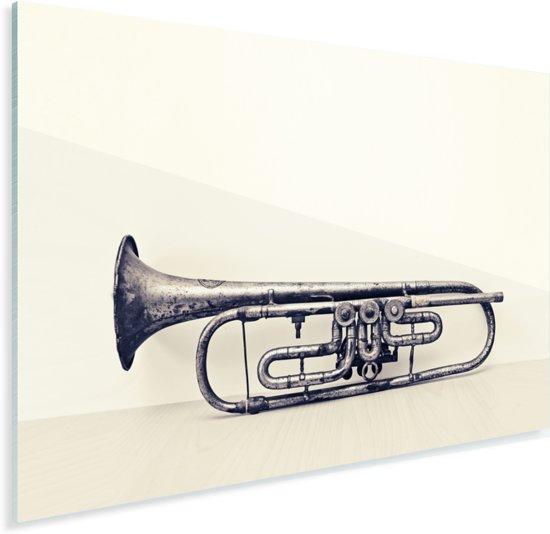 Een oude trompet op tafel Plexiglas 80x60 cm - Foto print op Glas (Plexiglas wanddecoratie)