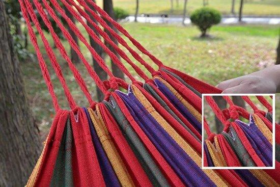 Canvas Rainbow Hangmat - Reis Hangmat - Hammock 1 Persoons Opvouwbaar - Geen Standaard