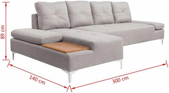 vidaXL Bank L-vormig met houten blad XXL 300 cm stof crèmegrijs