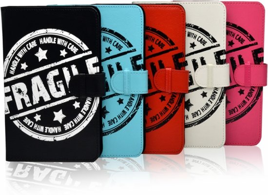 """Hoes voor Dell Venue 7 3000, Cover met Fragile Print, hot pink , merk i12Cover"""