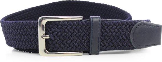 Blauw - Elastische Comfort Riem - Totale lengte 120 cm - Gevlochten - 100% Elastisch - Nikkelvrije Gesp - Safekeepers