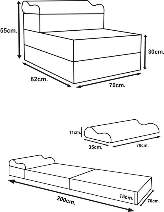 Zwarte Logeermatras - camping matras - reismatras - opvouwbaar matras - 70 x 200 x 15 met kussen