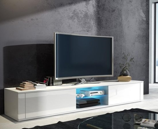 Tv Tafel Kast.Bol Com Tv Meubel Tv Kast Elegance Met Led Verlichting Body Wit