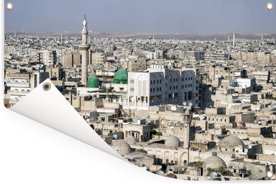 Skyline van Centrum Aleppo in Syrië Tuinposter 180x120 cm - Tuindoek / Buitencanvas / Schilderijen voor buiten (tuin decoratie) XXL / Groot formaat!