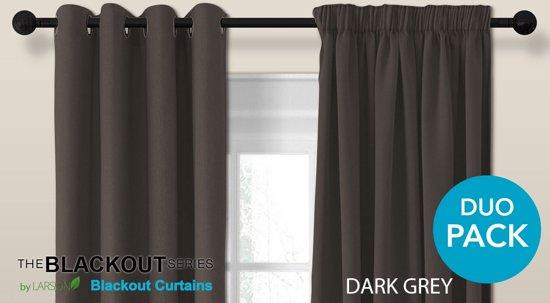 luxe blackout gordijn met ringen donkergrijs 15x25m verduisterend kant en